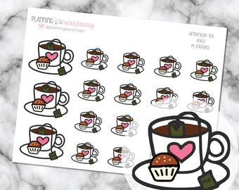 Afternoon Tea | Tea Time Planner Stickers Perfect for Erin Condren, Kikki K, Filofax and all other Planners