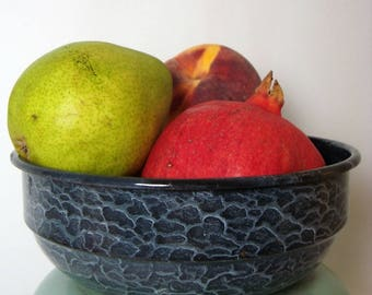 Enamelware Bowl Black Textured Vintage Crackle Finish Graniteware Round