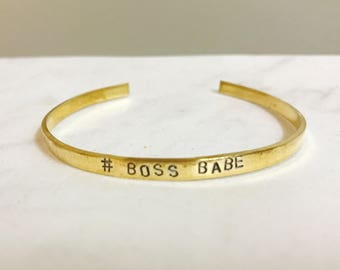 Personalized Metal Stamped Cuff (Thin Brass)
