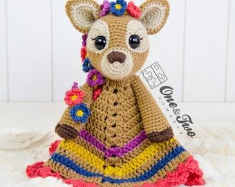 Meadow the Sweet Fawn Lovey / Security Blanket - PDF Crochet Pattern - Instant Download - Blankie Baby Blanket