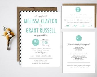 Wedding Invitation Bundle, Modern Wedding Invitation, Black and White Wedding, Simple Wedding Invitation, Stripes, Typographic
