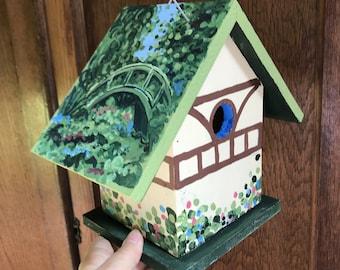 Birdhouse Indoor-Outdoor Handpainted - Faux Monet
