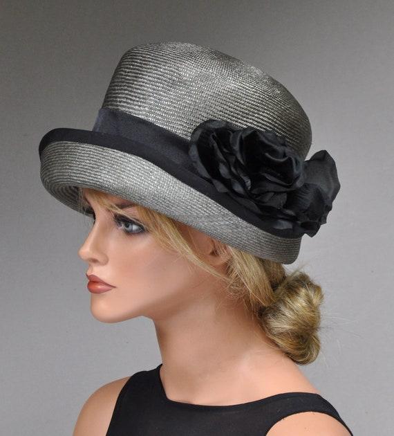 Wedding Hat, Derby Hat, Church Hat, Formal Hat, Derby Hat, Dressy Hat, Occasion Hat, Gray Hat