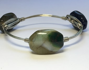 Shades of green glass beaded wire wrapped bracelet **ONE OF A KIND**
