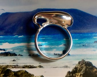 whale sterling silver ring unique piece hand made