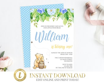 Classic Winnie The Pooh Birthday Invitation, Pooh Birthday, Pooh Invitation, Pooh Bear, First Birthday, INSTANT DOWNLOAD, Boy Birthday