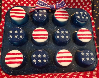 Muffin tin, cupcake, red,white, blue, patriotic, Americana,