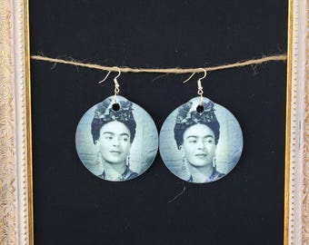 Large Round Wooden Earrings with Frida