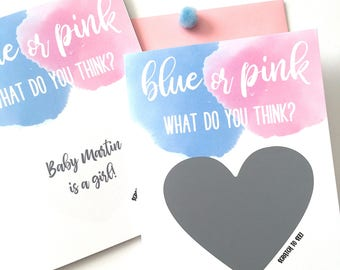Gender Reveal Card - Blue or Pink What Do you Think - Personalized Gender Reveal Card for Friends and Family - Blue and Pink Watercolor