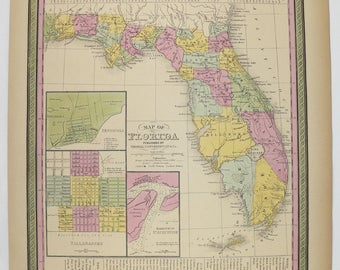 1852 Antique Florida Map Original Vintage FL Mitchell Of