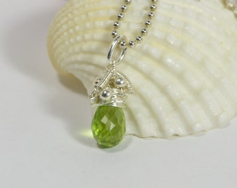 Wire Wrapped Peridot Pendant Tiny Birthstone Charm Birthday Gift Gemstone Drop Peridot teardrop