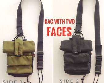 6-in-1, urban EDC bag, double-sided colored black/olive