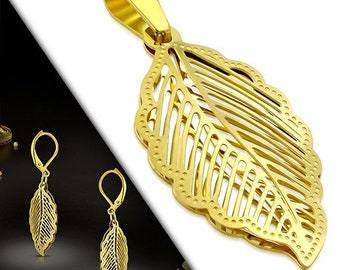 Set Earrings and Pendant Leaf Golden Stainless Steel