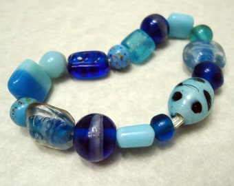 Blue Glass Beaded Bracelet