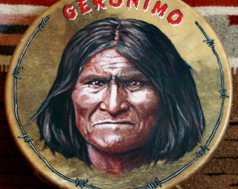 Handmade Hand Painted Native American Style Hoop Drum - GERONIMO