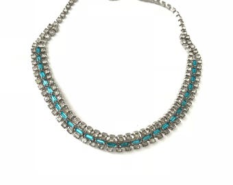 Vintage Blue and Clear Crystal Rhinestone Choker Necklace