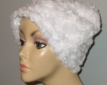 Kids Child  Cancer, Chemo Hat, White Furry  Comfort Hat, Alopecia, Turban
