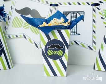 Little man birthday mini pop corn box - mustache birthday - little man baby shower printable - favor box - INSTANT download - DIY // MUST-11