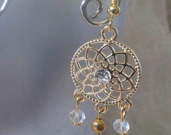 """Earrings """"gold connector and transparent beads"""""""