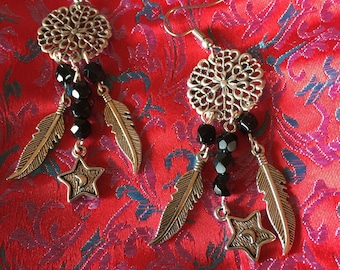 Earrings feather and Star