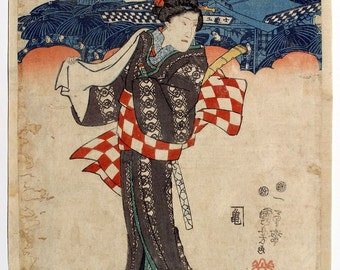 Japanese Woman By Utagawa Kuniyoshi Reproduction Woodblock Painting, Picture, Poster A3 A4