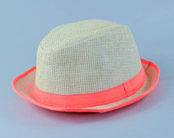 Vintage Women's Straw Orange Fedora Trilby Hat 70's Detective Medium 56cm 22""