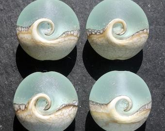 Lampwork Small Focals Lentils (4) Ocean Wave Pale Aqua
