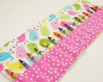 Crayon Roll Up - Spring Birdies Crayon Roll - 16 Crayons - Stocking Stuffer - Kids