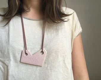 Pink Ceramic Necklace with Waxed Cotton Cord