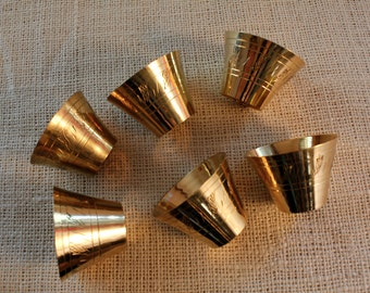 Vintage  six (6) Brass  tea cups Etched Cups Moroccan , Turkish Middle Eastern Vase Decor,Miniature Tea Cups,Rustic Oriental Decorated