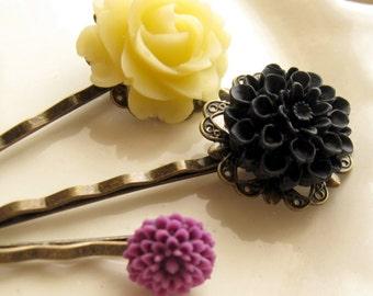Yellow Flower Hairpin, Black Flower Hairpin, Hairpin Gift Set, Purple Bobby Pin, Hair Jewelry, Antique Brass Pins, Flower Bobby Pins,