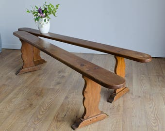 Beautiful Pair of Antique 19th Century French Cherrywood Farmhouse Benches