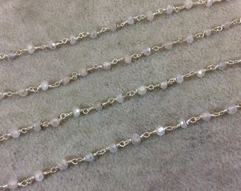 Silver Plated Copper Rosary Chain with Faceted 3-4mm Rondelle Shaped Mystic Coated White/Gray Moonstone Beads - Sold Per Ft - (CH147-SV)