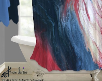 Delightful Red White Blue, Coral Navy Bathroom Decor, Shower Curtain, Modern  Contemporary, Abstract