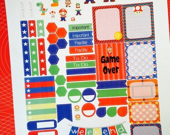 Plumber Brothers Weekly Planner Stickers Set, for use with Erin Condren Life Planner, Happy Planner