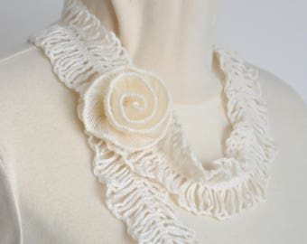 Feather and Rose - Cream - Crochet Rose Ruffle Scarf