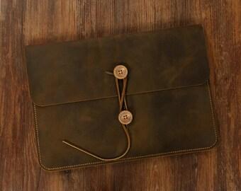Handmade leather macbook case portfolio bag for 11 12 13 15 inch macbook air pro / vintage brown leather macbook sleeve MACX05C-N