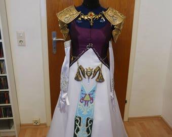 Zelda twilight princess cosplay costume dress with embroidery including jewelery
