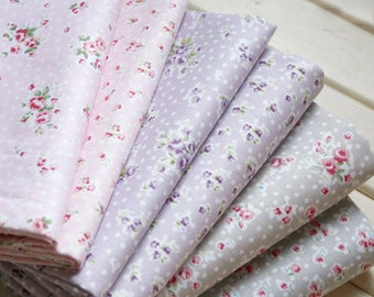 "Flower Fabric/ Cotton Fabric/ Shabby chic/ Flower Cotton/ Pink Rose on Pink Purple Grey Gray  - 1/2 yard 18""X55"""