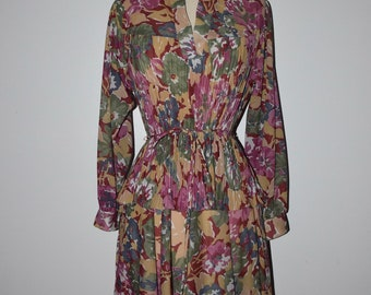 Vintage 70s 80s floral flower print pleated dress