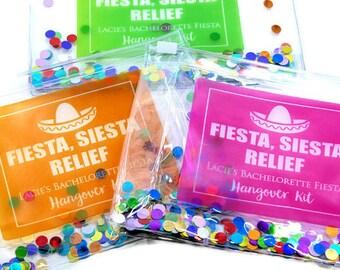 Fiesta, Hangover Kit, Hangover kit bag, Bachelorette Party, Survival Kit,  Favor, Custom Gift Packaging, Favor Bag, Bachelorette Favors