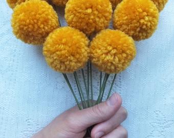 Gold Yarn Pom Pom Flowers: Set of 12