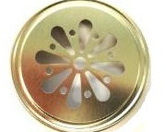 12 pcs Gold Daisy Mason Jar Lid for Regular Mouth Mason Jars