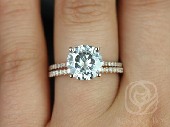 Rosados Box DIAMOND FREE Eloise 9mm 14kt Rose Gold F1- Moissanite and White Sapphires Cathedral Classic Wedding Set