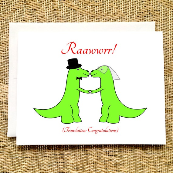Funny wedding card trex wedding dinosaur wedding card m4hsunfo