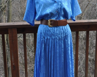 1980s blue Dress. Size 10 Shirtwaist. Short Sleeve Summer dress. Teacher or secretary dress.