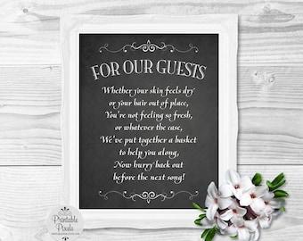 Bathroom Basket Chalkboard Printable Wedding Sign, Toiletries Basket (#BT13C)