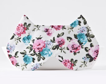 Sleep Mask for Women, Floral Eye Mask for Traveling, Sleep Mask Light Blocking, Cat Lover Gift, Travel Sleep Mask, Girlfriend Gift