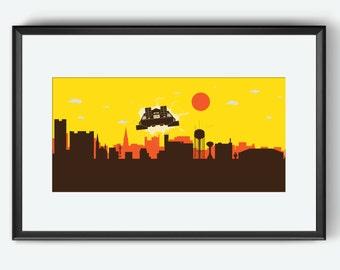 Fargo skyline, Fargo art, Fargo print, Fargo poster, back to the future inspired print, back to the future poster, back to the future print