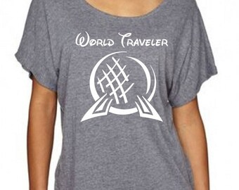 Spring Sale World Traveler Epcot Inspired Dolman Loose Fitting Grey T Shirt - Great for trip to Disney World for Food and Wine Festival